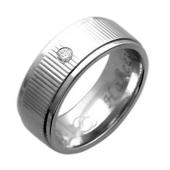 Обручальное кольцо, белое золото, 585 пробы, бриллиант, широкая шинка, широкий торец, резьба посередине, гравировка Вместе Навсегда 7.2мм