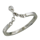 Кольцо Викс с бриллиантом на цепочке, белое золото
