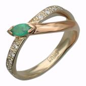 Кольцо с рубином и бриллиантами, красное золото