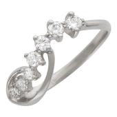 Кольцо Нежное с бриллиантами, белое золото 750 проба