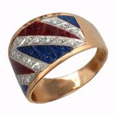 Кольцо Британь с бриллиантами и эмалью, комбинированное золото