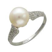 Кольцо, белое золото, белый жемчуг в центре, плоские дорожки фианитов