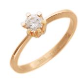 Кольцо с бриллиантом в шести держателях, красное золото