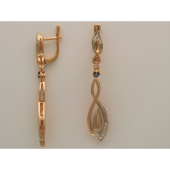 Серьги длинные Листочки с бриллиантами и сапфиром, комбинированное золото