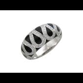 Кольцо широкое округлое с бриллиантами и эмалью, белое золото