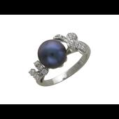 Кольцо с бриллиантами и чёрным жемчугом, белое золото