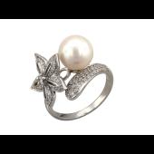 Кольцо Цветок с жемчужиной и бриллиантами, белое золото