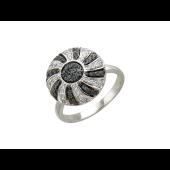 Кольцо Шар с чёрными и прозрачными бриллиантами, белое золото