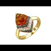 Кольцо с большим кварцем, чёрными и прозрачными бриллиантами, желтое золото