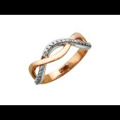 Кольцо Бесконечность с бриллиантами, комбинированное золото