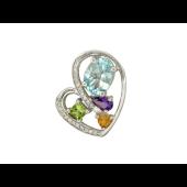 Кулон Сердце с цветными камнями и бриллиантами, белое золото