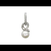 Кулон с жемчугом и дорожкой бриллиантов, белое золото 750 проба
