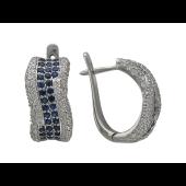 Серьги Дорожка с бриллиантами и сапфирами, белое золото
