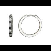 Серьги-кольца с чёрными и прозрачными бриллиантами, белое золото