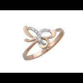 Кольцо Бант с бриллиантами, красное золото
