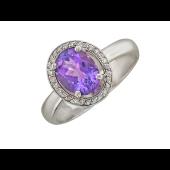 Кольцо с овальным сапфиром и бриллиантами, белое золото