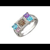 Кольцо с топазом, аметистом, раухтопазом и бриллиантами, белое золото