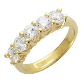 Кольцо дорожка из пяти крупных фианитов бриллиантовой огранки, желтое золото 585 проба