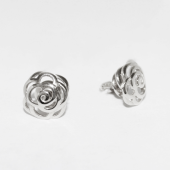 Серьги-пусеты Роза без вставок, белое золото