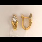 Серьги с бриллиантами в ромбе, комбинированное золото