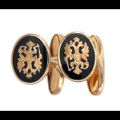 Запонки Герб Двуглавый Орел с овалами из оникса, красное золото