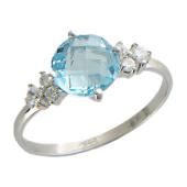 Кольцо с круглым граненым камнем и фианитами, белое золото, 585 пробы