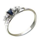 Кольцо с круглым сапфиром и бриллиантами, белое золото, 585 проба