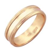 Кольцо обручальное с рубчиками по краям, красное золото 6 мм