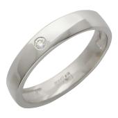 Кольцо обручальное с бриллиантом, края со скосами, белое золото, 585 пробы