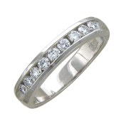 Кольцо Дорожка с бриллиантами, белое золото 3,5мм