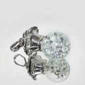 Подвеска Imagination с розой и стеклянной колбой с кристаллами, серебро