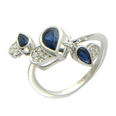 Кольцо Сердечки с бриллиантами и сапфирами, белое золото 750 проба