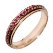 Кольцо с рубинами по всей шинке, комбинированное золото