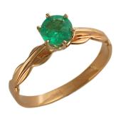 Кольцо с круглым изумрудом, комбинированное золото