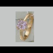 Кольцо с квадратным аметистом в восьми держателях, красное золото
