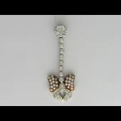 Подвеска длинная, Бабочка с бриллиантами, белое золото 750 проба
