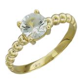 Кольцо с большим круглым аметистом, желтое золото