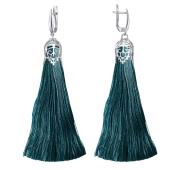 Серьги Кисти с темно-синей индиго шелковой нитью, серебро