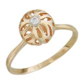 Кольцо Азия, фонарик с бриллиантом, красное золото