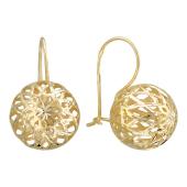 Серьги Большой ажурный шар, желтое золото 585 пробы