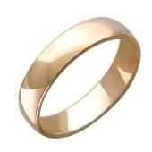 Обручальное кольцо гладкое, красное золото, ширина шинки 5.00 мм, широкий торец