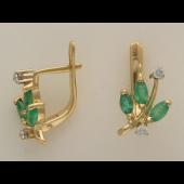 Серьги с бриллиантами и рубинами, комбинированное золото