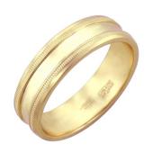 Кольцо обручальное с декоративными насечками широкое, желтое золото, 585 проба 6 мм