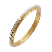 Кольцо обручальное с бриллиантом, красное золото