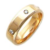 Обручальное кольцо с пятью бриллиантами, по краям насечки, широкий торец, красное золото 5.5мм