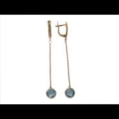 Серьги длинные с кварцем (аметистом, празиолитом) на цепочке, красное золото