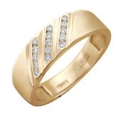 Кольцо, красное золото 585 проба, три полоски бриллиантов по диагонали