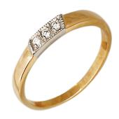 Кольцо с тремя бриллиантами, красное и белое золото