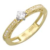 Кольцо с бриллиантами и крупным бриллинтом в центре, желтое и белое золото 750 проба