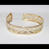Браслет - обруч узорный, желтое золото 15мм
